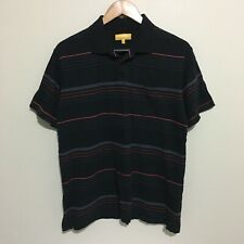 Jeep Australia Striped Stripes Polo Shirt Black Adult Mens Medium