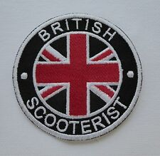 Iron On/ Sew On Embroidered Patch Badge Circle British Scooterists MOD Union Jac