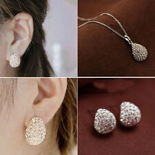 Korean Lady Gold/Silver Plated Rhinestone Crystal Necklace Earrings Jewelry Set