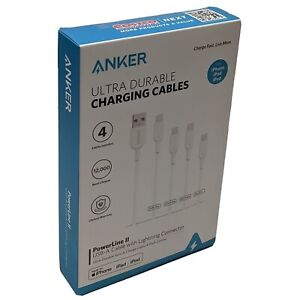 New Sealed Anker Powerline Lightning Cable Apple MFi Cet for iPhone/iPad 4pk Set