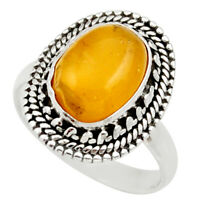 5.52cts Natural Yellow Amber Bone 925 Silver Solitaire Ring Size 8.5 D35887