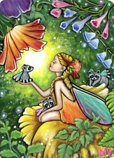 Raccoon Angel Thumbelina Fairy Tale Forest Flowers ACEO Print From Original