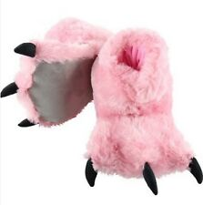 Lazy One ADULT PINK BEAR CLAW SLIPPERS LARGE ( men 5-7 / women 8-9)