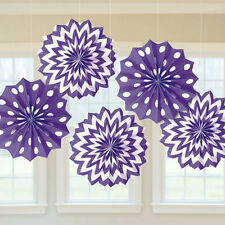 5 Purple & White Paper Fans Hanging Decorations Party Decoration Chevrons & Dots