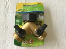 Green Thumb Heavy Duty 2 Way Garden Hose Connector - Solid Brass