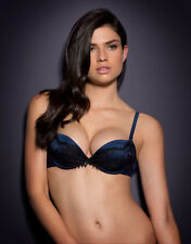 Agent Provocateur STEPHANEE BRA in BLUE SILK SATIN & BLACK LACE - 34D - BNWT