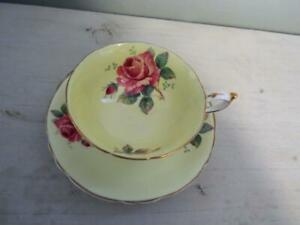 Lovely Paragon Yellow Cup & Saucer w/ 2 Pink Cabbage Roses and Gold Trim