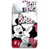Parure de lit Mickey et Minnie 140x200 cm 100% Coton