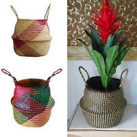 Seagrass Flower Belly Basket Storage Plant Pot Laundry Bag Foldable Home Decor