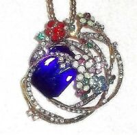 BETSEY JOHNSON MULTI COLOR CRYSTAL INLAY CIRCLES OF FLOWERS PENDANT NECKLACE