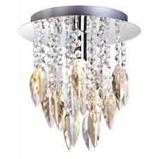 WILLAZZO MODERN SINGLE CEILING FLUSH LIGHT IN CHROME WITH CHAMPAGNE DROPLETS