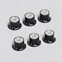 Electric Guitar Top Hat Volume Tone Control Knobs for Fender Strat Black 2 Set