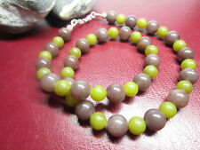 UNISEX Necklace Natural stone Gemstones beads with 925 Silver Ends Clasp