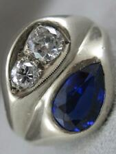 ANTIQUE ROUND DIAMOND BLUE STONE 14KT WHITE GOLD MENS BAND PINKY RING #L1326.43