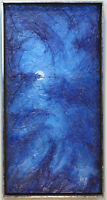 TEXAS MODERNIST IMPASTO OIL ON BOARD BLUE MOON PAINTING BY AVERY