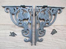 PAIR of cast iron farmhouse kitchen cockerel wall mounted shelf support bracket