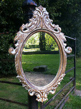 Shabby Chic Rustic French Inspired Vintage Style Oval Wall Mirror Beveled edge