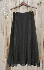 KM COLLECTIONS Long Black Formal Skirt with Netting Overlay & Ribbon Trim, Sz 6