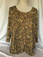 Coldwater Creek Women's Blouse Size 2X Layered Ruffled Knit Long Sleeve Top Nice