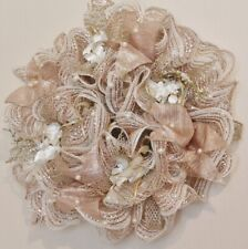 Handmade Wreath Deco Mesh - Holiday or All Season -Rose Gold & White Flowers-16""