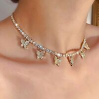 New Gold Butterfly Necklace Pendant Clavicle Choker Crystal Chain Women Jewelry