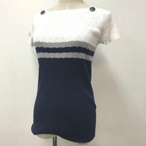 CHANEL P53627K06977 CC Mark tops shirt knit White navy gray size38