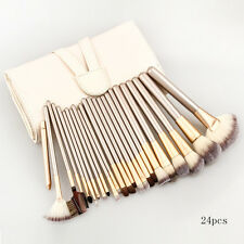 12Brushes Set +Leather Case Cosmetic Champagne Professional Makeup CH