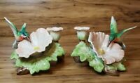 1987 Fitz & Floyd Hummingbird Hibiscus Ceramic Candlestick Candle Holder Pair