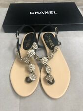 New CHANEL Black Leather Gold Camellia Embellished Flats Sandal Shoes 36.5 Flip