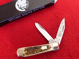 Bulldog Brand GERMANY STAG 2005 mint in box STAG trapper handmade knife