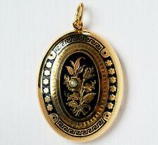 Antiker Anhänger Medaillon 14 Karat 585 Gold 6,57g Gelbgold Emaille Perle um1830
