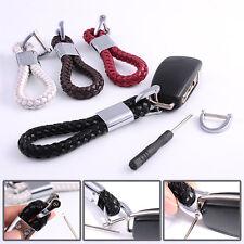Men's Leather Knitting Metal Car Keyring Keychain Key Chain Ring Keyfob