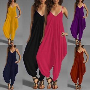 Ladies Long Harem Jumpsuit Playsuit Baggy Romper Ankle Long Leg 8-30