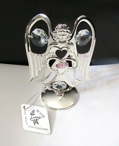 Figurine ANGEL on stand- pink heart- silver plated- Austrian crystals- clear