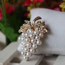 Grapes Brooches Gold-color Imitation Pearl Brooch Rhinestone For Wedding Bridal