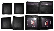 Lot of 6 FIZA NY Leather men's bifold Black wallets, 2 card center pieces 3 IDs