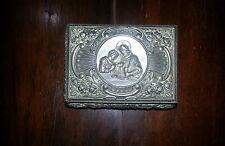 Porta ostie rettangolare in metallo brunito, con Gesù che compie la comunione