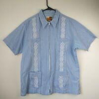 Genuine Guayabera Haband Blue Stripe Mens Large 4 Pocket Shirt Vintage EUC