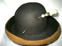 Vintage Oscar de le Renta Millinery Black & Brown Wool Felt Hat-With Pin-Medium
