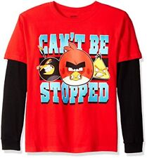 Angry Birds Boys' Big Boys' Can't Be Stopped Long Sleeve Two-Fer T-Shirt, Red.