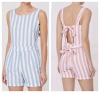 NEW NEXT LADIES LINEN MIX PLAYSUIT SHORTS BLUE PINK STRIPE STRIPED SUMMER 6 - 18