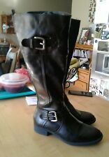 BARE TRAPS BLACK LEATHER RIDING BOOTS