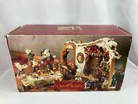 Grandeur Noel Santa and His Elves 12 Piece Ceramic Scene Set in Box R1461-A