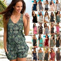 Women Summer Jumpsuit Playsuit Beach Boho Loose Rompers Shorts Mini Dress Pants