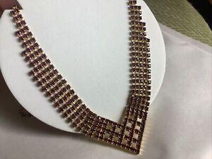Vintage ? Purple Rhinestone Articulate Cocktail Necklace