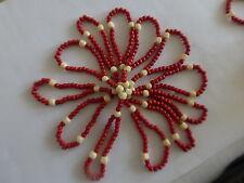 ancien chapelet SACRE CŒUR 440 perle en os de bovin rouge blanc guilloché
