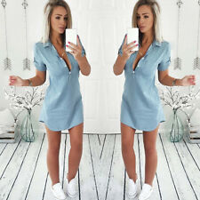 Womens Short Sleeve Dress Casual Bodycon Denim Turn Down Collar Mini Dresses Blue XL
