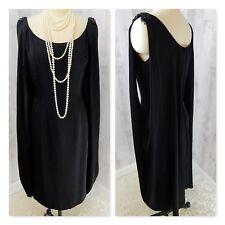 Stunning 1960s MR BLACKWELL Vintage Dress~Black Draped Beaded Evening Gown