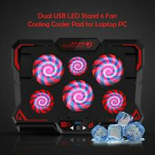 Dual USB LED Stand 6 Fan Cooling Mat Touch Control Cooler Pad Mat for Laptop PC