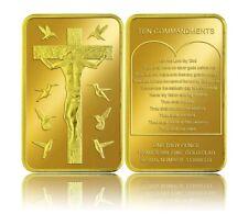 Jesus 10 Commandments Gold Bar ingot Crucifix Catholic Church Easter Christmas